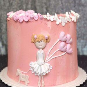 Торт «Девочка с шарами»