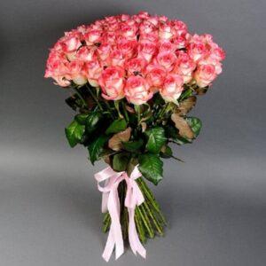 Букет розовых роз (51шт 80см)