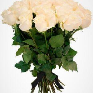 Ритуальный букет из белых роз (30 шт х 60 см)