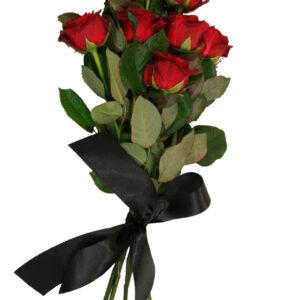Ритуальный букет из красных роз (10 шт х60см)