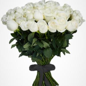 Ритуальный букет из белых роз (40 шт х60см)