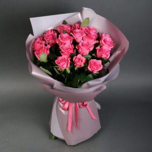 Букет из розовых роз (21шт х70см)