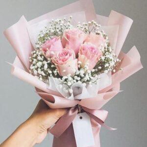Композиция из нежно розовых роз(5шт 60см)