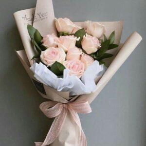 Композиция из светло-розовых роз(9 шт 60см)