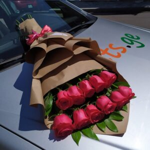 Букет из малиновых роз (11шт 70см)