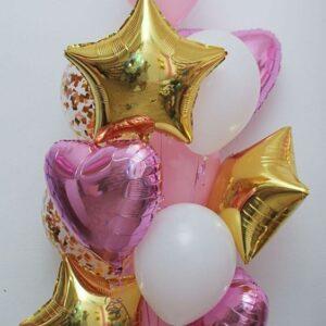 Шарики гелиевые — 7 шт. с конфетти  + 3 сердце + 3 звезды