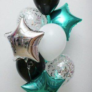 Шарики гелиевые — 6 шт. с конфетти + 3 звезды